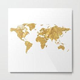 Gold Foil World Map Metal Print