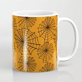 Black orange hand painted halloween spider web pattern Coffee Mug