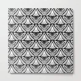Butterfly and Flower Pattern Black & White 2 Metal Print