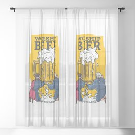 Beer lord, funny illustration for beer lovers Sheer Curtain