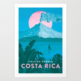 Costa Rica, Volcano Arenal Vintage Travel Poster Art Print