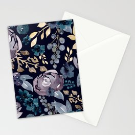 Fall Flowers + Berries on Navy Blue  Stationery Cards