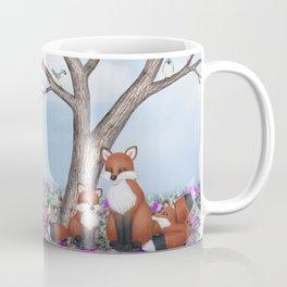 fox, cubs and tufted titmice Coffee Mug