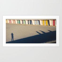 beach cabins Touquet Art Print