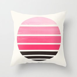 Pink Mid Century Modern Minimalist Circle Round Photo Staggered Sunset Geometric Stripe Design Throw Pillow