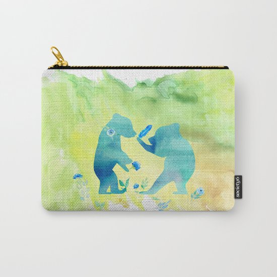 Playing bear kids - Animal Watercolor illustration Carry-All Pouch