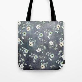 White Flowers and Grey Leaves Tote Bag