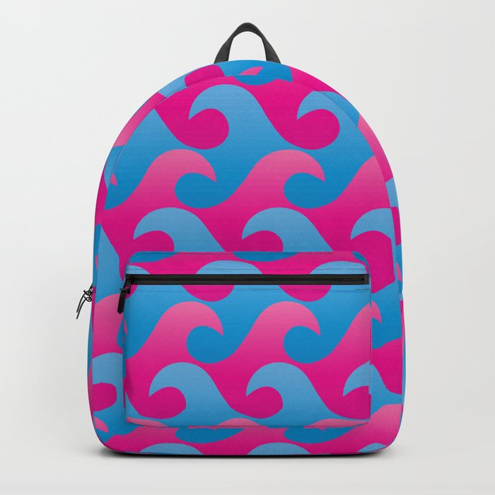 Abstract Blue and Pink Ocean Wave Seamless Surf Pattern Backpack