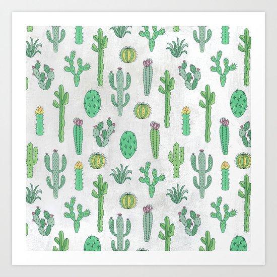 Cactus Pattern White Art Print