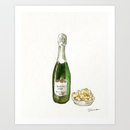 Cava and Potato Chips Art Print