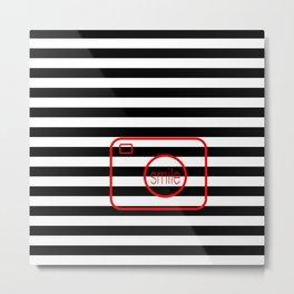 Minimalist Era - Black & White Stripe - Red Smile Metal Print