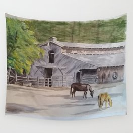 Old Horse Barn Wall Tapestry