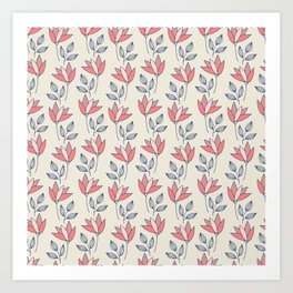 Tulips in pink and red on cream background Art Print