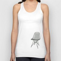 eames Tank Tops featuring Eames Wire Chair by Green Bird Press