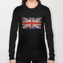 "UK Union Jack flag ""Bright"" retro grungy style Long Sleeve T-shirt"