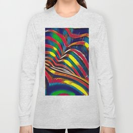 2602s-AK Nude Body Back Striped Abstraction Bright Color Pastel by Chris Maher Long Sleeve T-shirt