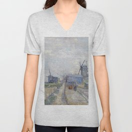 Montmartre - Windmills and Allotments by Vincent van Gogh Unisex V-Neck