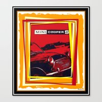 mini cooper Canvas Prints featuring Mini Cooper by elkart51