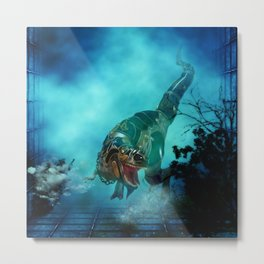 Awesome t-rex with armor Metal Print