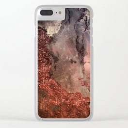 Copper Glitter Stone and Ink Abstract Gem Glamour Marble Clear iPhone Case