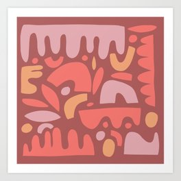 Abstract on Red Art Print