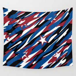 Patriotic Camouflage Red White and Blue with Stars American Pride Abstract Pattern Wall Tapestry