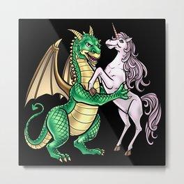 Dragon And Unicorn | Dancing Waltz Music Creature Metal Print