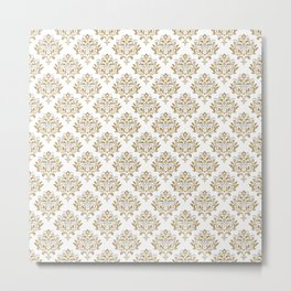 Crafted Damask Inspired Gold Pattern with Blue Accents Metal Print