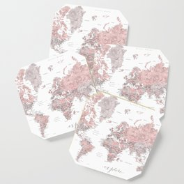 Explore - Dusty pink and grey watercolor world map, detailed Coaster