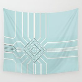 Soft Teal Abstract Minimalist Design Wall Tapestry