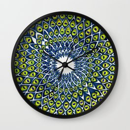 Peacock Feather Mandala – Navy & Lime Palette Wall Clock
