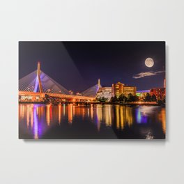 Moon light over Zakim bridge Metal Print
