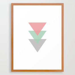Minimal Pastel Colored Trio Of Triangles Framed Art Print