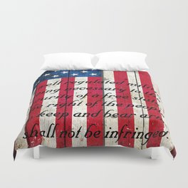 2nd Amendment on American Flag - Vertical Print Duvet Cover