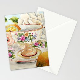 Teacup, Lemon and Roses Stationery Cards