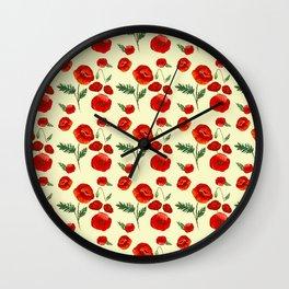 Gouache Poppy Patterns Wall Clock