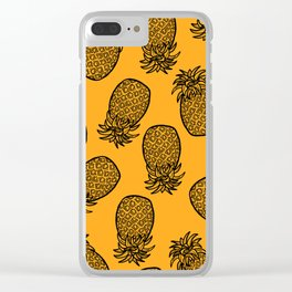 Hand Drawn Black Pineapples on Sunshine Orange Clear iPhone Case