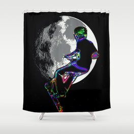 Moonlit Scooter Champ Shower Curtain