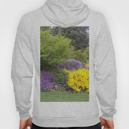 Beautiful Landscape With Purple and Gold Flower, Lush Landscape, Green Hoody