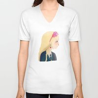 luna V-neck T-shirts featuring Luna by Nan Lawson