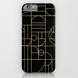 Minimalist Mid Century Modern Black & Gold Pattern iPhone Case