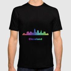 Rainbow Cleveland skyline Mens Fitted Tee MEDIUM Black