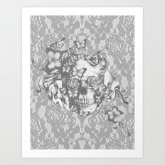 Ashes to Ashes lace skull Art Print