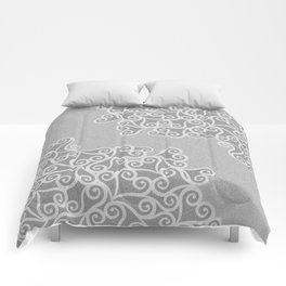 Comtemporary Abstract Leaves Grey Pattern Comforters