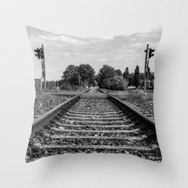 Black and white railway Throw Pillow