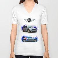 mini cooper V-neck T-shirts featuring Cars: Mini Cooper S #2 by Urbex :: Siam