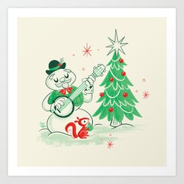 Vintage Snowman Art Print