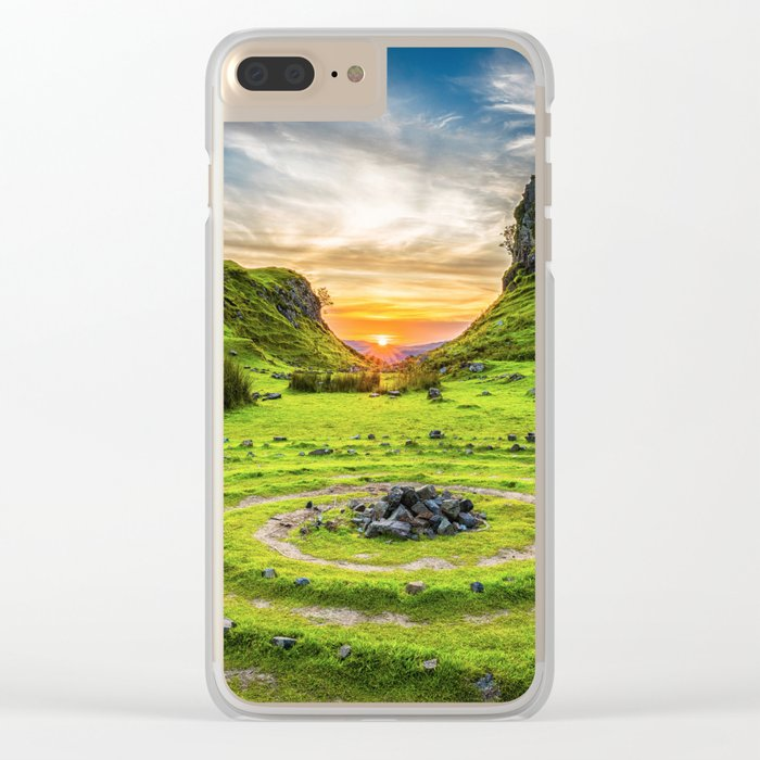 Green nature circle Clear iPhone Case