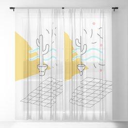 Cactus and confetti Sheer Curtain
