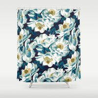 cook Shower Curtains featuring Mount Cook Lily (Night) by Andrea Stark